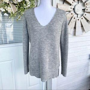 Light Grey Silver Sparkle High-Low V Neck Sweater